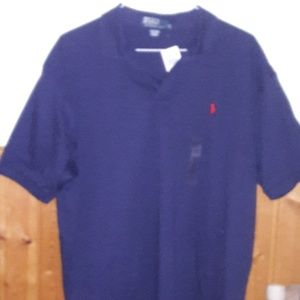 Polo by Ralph Lauren navy with red pony shirt; XL